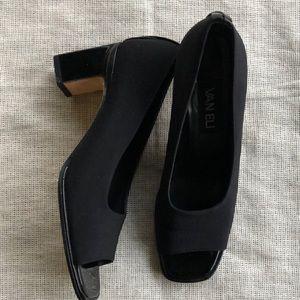 Vaneli Shoes - VanEli Black Shoes Heels Peep Toe Leather 7 1/2